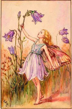 Cicely Mary Barker Illustration of the Harebell Fairy for Flower Fa… Cicely Mary Barker Illustration de la fée … Cicely Mary Barker, Art And Illustration, Art Floral, Flower Fairies, Flower Art, Des Fleurs Pour Algernon, Elfen Fantasy, Fairy Paintings, Fairy Drawings