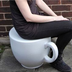 """""""Created by designer Holly Palmer, the Tea Cup Stool gives a new meaning to the phrase """"cup size."""" This giant teacup chair, made from rotationally molded plastic, will make you feel like a miniature Alice in Wonderland every time you take a seat.  - fab.com   The Tea Cup Stool in White by Holly Palmer."""