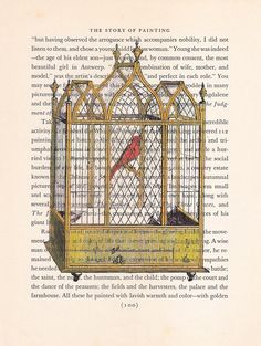 A Canary in a Golden Vintage Cage on a Vintage Book Page  watercolor finishing.. $10.00, via Etsy.