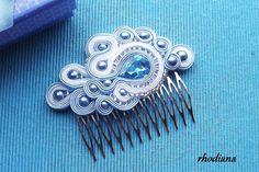 Turquoise blue Soutache comb,  Wedding Hair Accessory, Soutache , Wedding Hair