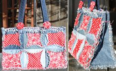 A bag made from recycled denim jeans! The pattern is at www.inventivedenim.com