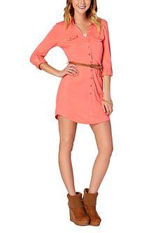 Belted Knit Shirt Dress   rue21