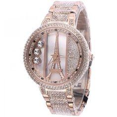 Diamond Accented Designer Wrist Bracelet / Genuine Wrist Eiffel Tower Watch for Women in Rose Pink