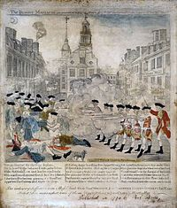Boston Massacre: The Boston Massacre was when colonist grouped around British soldiers and harassed them. The British fired some shots killing five and injuring six   innocent people. The Boston Massacre was nicknamed the incident on kings street .