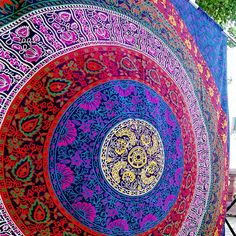 Marubhumi Hippy Mandala Bohemian Tapestries, Indian Dorm Decor, Psychedelic Tapestry Wall Hanging Ethnic Decorative Tapestry x 55 Inches, Purple Multi) Bohemian Bedspread, Bohemian Tapestry, Mandala Tapestry, Mandala Throw, Purple Tapestry, Colorful Tapestry, Tapestry Beach, Dorm Tapestry, Indian Tapestry