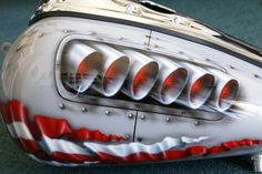 """Custom Motorcycle Paint Job On Your Tins """"P-40/ Rivets"""" Gas Tank Airbrush #rivets #tank #airbrush #tins #your #motorcycle #paint #custom"""