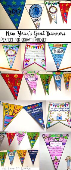 These banners are designed as a way to foster a Growth Mindset culture in your classroom with your students. Children write or draw their goals for the New Year and decorate the banners. You string them up along with the 7 decorative banners to hang them in your classroom. They serve as a great reminder for students, too!