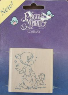 Precious Moments Rubber Stamp Little Girl Whistling with Cat No 5515 New #PreciousMoments