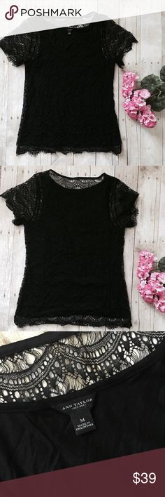 """Ann Taylor black lace short sleeve top. nwot New without tags. Black lace overlay with black tank under. Shell: 100% nylon and lining is 70% rayon, 30% lyocell. Measurements lying flat: armpit to armpit 17 inches and length 25 inches.  ❌ No trades or off Poshmark transactions.   Quick shipping.   Offers welcome through """"Make an Offer"""" feature.    Bundle discount.   ❔ Feel free to ask any questions. Ann Taylor Tops Tees - Short Sleeve"""
