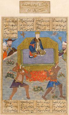 Jamshid's throne borne by divs Ferdowsi, Shahnameh Timurid: Shiraz, c.1435–1440 Opaque watercolour, ink and gold on paper  Cambridge, Fitzwilliam Museum, MS 22-1948, fol. 11v