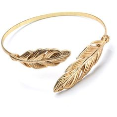 Fly High Feather Charm Cuff GOLD (230 THB) ❤ liked on Polyvore featuring jewelry, bracelets, accessories, rings, pulseras, metal, gold bangles, artificial jewellery, feather bangle and yellow gold bangle