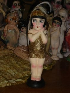 """Vintage Flapper Carnival Kewpie Doll Rare and Adorable Upcycled 13"""" Papier Mache"""