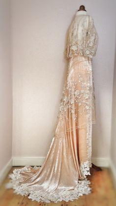 Champagne silk velvet and platinum & gold embroidered tulle Belle Epoque inspired wedding dress by Joanne Fleming Design