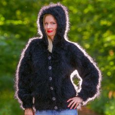BLACK Hand Knitted Mohair Sweater Fuzzy Jacket Hoodie Cardigan SUPERTANYA S M L #SuperTanya #BasicCoat