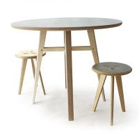 stylish ply upcycled table and stools at Goldfinger Factory
