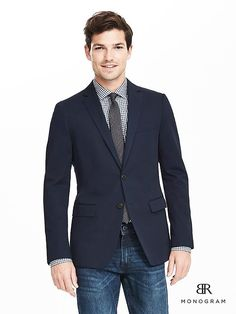 BR Monogram Navy Ice Cotton Suit Jacket   Banana Republic Ice Cotton, Cotton Suit, Work Suits, Outfit Combinations, Modern Outfits, Pretty Boys, Latest Fashion Trends, Going Out, What To Wear