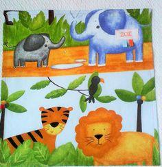 """serviette de table enfant no 9,personnalisable ,tissu de coton """"les animaux de la savane """" ,multicolore . : Ecole et loisirs par kate27"""