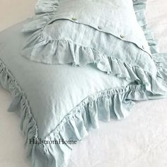 Our newest style ruffled Linen pillow shams are made from beautiful Belgium Linen which becomes softer with each wash for a cozy and romantic style bedroom. Made to order after purchase. Please allow #RomanticBedLinen