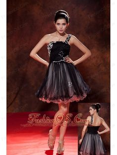 Black Cocktail Dress A-line / Princess One Shoulder Mini-length Tulle Ruch-   http://www.fashionos.com  http://www.facebook.com/fashionos.us  Show off your fun and playful side at your homecoming or prom in this super cute strapless party dress. The black short prom dress features a one shoulder strap adorned with thin white strap and a ruched bodices with white embellishments. The full tulle skirt is flowy and light for you to wear.