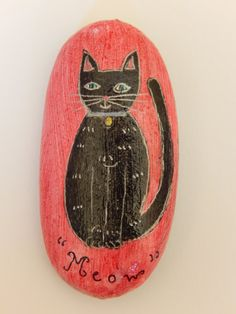 Little Black Cat   Hand Painted Stone