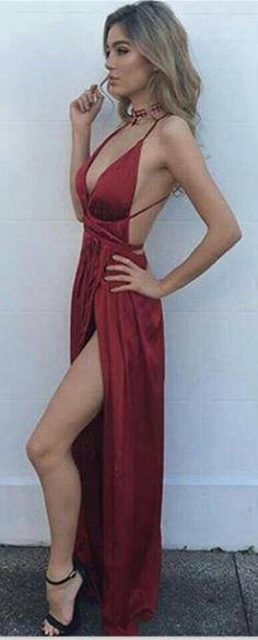 Beautiful Prom Dress, new arrival prom dress modest prom dress sexy burgundy maxi dress v neck evening dress long formal dress backless prom dress slit side dresses Meet Dresses Split Prom Dresses, Backless Prom Dresses, Modest Dresses, Pretty Dresses, Sexy Dresses, Beautiful Dresses, Dress Outfits, Red Silk Prom Dress, Long Dresses