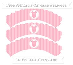 Free Pastel Light Pink Striped  Baby Onesie Scalloped Cupcake Wrappers