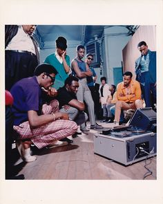 The Temptations with producer Harvey Fuqua (in black shirt) [courtesy Motown Archives]