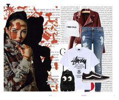 """""""(:"""" by mariasunshine1995 on Polyvore featuring moda, Oris, Stussy, WithChic, Tommy Hilfiger, Vans, Nasaseasons y Anya Hindmarch"""