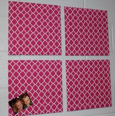 Get a pack of 4 cork boards from Walmart. Cover them with fabric squares. Staple the fabric to the back. Perfect for the classroom!!!