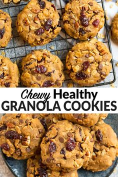 These soft and chewy Granola Cookies with peanut butter are the perfect healthy cookie recipe. Add any combo of cranberries, chocolate chips, and nuts. Easy recipe that's great for kids and adults! #wellplated #healthycookies via @wellplated Healthy Cookies For Kids, Healthy Cookie Recipes, Cookie Recipes For Kids, Healthy Peanut Butter Cookie Recipe, Oats Recipes, Cookie Ideas, Healthy Sweets, Apple Recipes, Baking Recipes