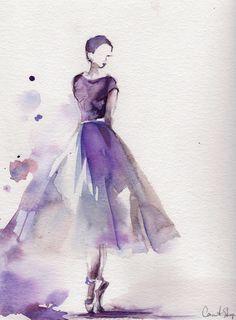 Ballerina Original Watercolor Painting Ballet Dance Watercolor Art Purple Scale: 9x11.5 (23x29cm) Medium: Saint-Petersburg Watercolors White Nights on