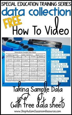 Special Education Training Series: Data - Taking Sample Data Free training video with a free data sheet to help special education teachers, ABA therapists and speech pathologists take data. A video of how to use the data sheet can also be used to train pa Co Teaching, Teaching Special Education, Education And Training, Teaching Tools, Teaching Strategies, Teaching Materials, Free Training, Training Videos, Self Contained Classroom