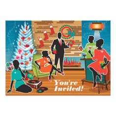 Mid Century Modern Christmas Party Invitations