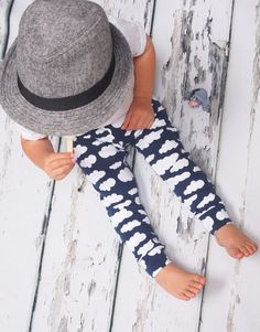 Baby leggings, Navy cloud, sky leggings, girls leggings, boys leggings, unisex baby, baby pants, baby clothing, boys leggings, girls legging