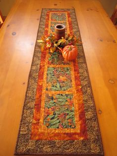 Pine Cones and Acorns Fall Table Runner by PatchworkMountain