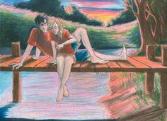 Percabeth moments. Artist says: 'Annabeth is dropping stones in the water, which Percy bounces back up with his powers.'-Burdge