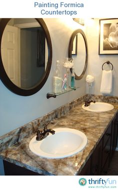 """My home was a mecca of ugly and strangely colored laminate countertops; hunter green, brown, navy blue, beige, etc.. I set out to paint them to improve their look, thinking """"they can't get any worse, can they?""""  Paint was my frugal friend."""