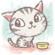 American Shorthair by Toru Sanogawa. Great idea for use as a guide for painting directly onto a cake or as a fondant cut out. ■ check if it has copyright Kitten Drawing, Cute Cat Drawing, Cute Drawings, Cat Cartoon Drawing, Simple Cat Drawing, I Love Cats, Crazy Cats, Cute Cats, Illustration Mignonne