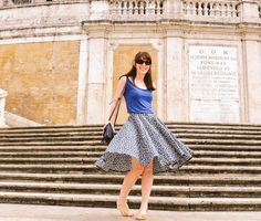 SOIshowoff September: on the Spanish steps in my sew over it vintage 50s button up skirt #romanholiday