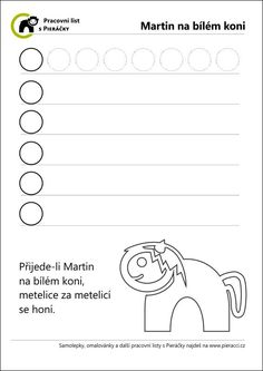 Martin na bílém koni – pranostika aneb tématický pracovní list s pieráčky Martini, Math, School, Math Resources, Martinis, Mathematics