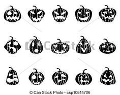 Vecteur - Halloween, Citrouille, icônes, ensemble - Banque d'illustrations, illustrations libres de droits, banque de clip art, icônes clipart, logo, image EPS, images, graphique, graphiques, dessin, dessins, image vectorielle, oeuvre d'art, art vecteur EPS
