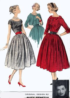 Vintage 50s Sewing pattern Advance 8445 American Designer SUZY PERETTE Scooped Neckline Dress w/ Short Jacket Size 12 B 32