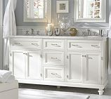 Modular Classic Double Sink Console with Doors, Drawers & Turned Legs, White with White Marble