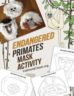 Make your endangered species lesson interactive with these fantastic primate masks! This activity enables students to better identify with endangered animals, inspiring them to reflect on what challenges these animals face and what we can do to help. Nice STEAM activity for lower to middle grades.