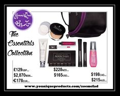 This collection includes: 1 Touch Mineral Foundation Pressed Powder or Cream Foundation 1 Moodstruck Addiction Shadow Palette 1 Moodstruck 3D Fiber Lashes+ 1 Lucrative Lip Gloss 1 Refreshed Pure & Natural Rose Water 1 Divine Daily Moisturizer 1 Younique makeup bag