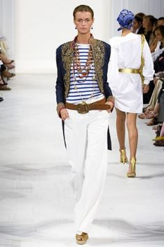 Fashion Trends Spring / Summer 2012 on www.squidoo.com (Love the white pants, tan belt and striped shirt together)