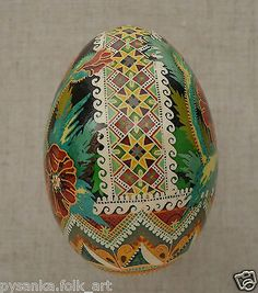 Ukrainian Pysanka by Ira GOOSE Egg Shell Poppy side band