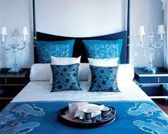 quarto de casal em tons de azul