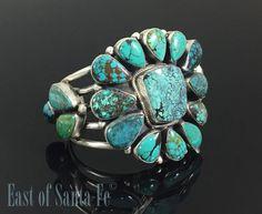 Turquoise Native American Cuff Bracelet Navajo Sterling Signed Raymond Beard