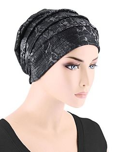 Womens Chemo Hat Slouchy Pleated Beanie for Cancer Turban Black with Silver  Snakeskin 5fb823ff1bf5